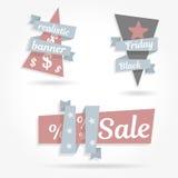 Realistische gebogene Papierfahne Stellen Sie Grafikband ein Schwarzer Freitag-Verkauf Vektorillustrations-Websiteelemente Lizenzfreie Stockfotografie