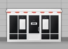 Realistische Gedetailleerde 3d Buitenkant van Restaurant, Koffie of Winkeldeuren Vector royalty-vrije illustratie