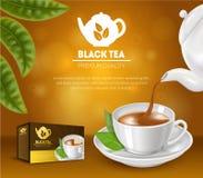Realistische Gedetailleerde 3d Zwarte Theeadvertenties Vector Stock Afbeelding