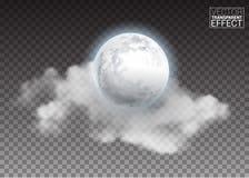 Realistische gedetailleerde volledige grote die maan met wolken op transparante achtergrond worden geïsoleerd stock foto