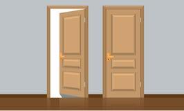 Realistische geopende en gesloten klassieke houten deur Vlakke kleurenstijl Stock Foto