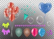 Realistische geplaatste ballons 3d ballon verschillende die kleuren, op achtergrond worden geïsoleerd Vectorillustratie, klemart. vector illustratie
