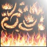 Realistische geplaatste brandvlammen Eps 10 vector illustratie