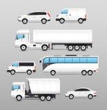 Realistische Geplaatste Vervoerpictogrammen Stock Afbeeldingen
