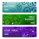 Realistische Geplaatste Virussen Horizontale Banners stock illustratie