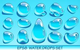 Realistische geplaatste waterdalingen Nuttig voor aquapictogrammen Geen transparante voorwerpen Stock Afbeeldingen