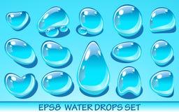 Realistische geplaatste waterdalingen Nuttig voor aquapictogrammen Geen transparante voorwerpen Stock Foto