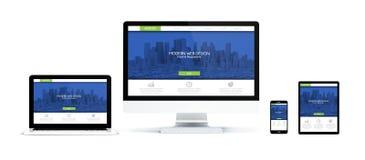 realistische Geräte lokalisiert mit modernem Webdesign vektor abbildung