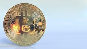Realistische glanzende bitcoin symbolische en lege ruimte voor tekst of infographics het 3d teruggeven Royalty-vrije Stock Fotografie