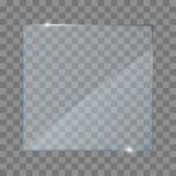 Realistische glas transparante platen, vierkant, rechthoek en ronde vector illustratie