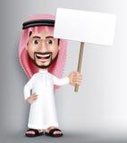 Realistische Glimlachende Knappe Saoediger - Arabisch Mensenkarakter Royalty-vrije Stock Afbeeldingen