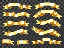 Realistische gouden banner Gouden horizontaal vieringslint Rollinten en toekenningsbanners geïsoleerde vector royalty-vrije illustratie