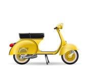 Realistische gouden gele klassieke autopedmotorfiets op wit Stock Afbeeldingen