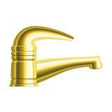 Realistische gouden waterkraan Royalty-vrije Stock Afbeeldingen