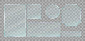 Realistische groene transparante geplaatste glasplaten Vector ontwerpelementen vector illustratie