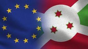 Realistische halbe Flaggen EU und Burundis zusammen lizenzfreie stockfotos