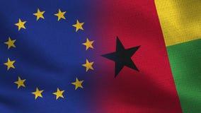 Realistische halbe Flaggen EU und Guinea-Bissaus zusammen stock abbildung