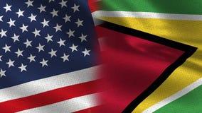 Realistische halbe Flaggen USA Guyana zusammen lizenzfreie stockbilder