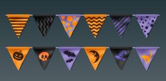 Realistische Halloween-Flaggengrenzen eingestellt Lizenzfreies Stockfoto