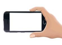 Realistische Hand, die Smartphone hält, wenn der weiße Schirm, auf Weiß lokalisiert ist Stockbilder