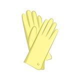 Realistische Handschuhe Frauen-Mode-Accessoires Der gelbe Gegenstand lokalisiert auf weißem Hintergrund Vektorkarikaturillustrati Stockbilder