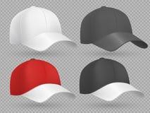 Realistische honkbalglb zwarte, witte en rode vectormalplaatjes royalty-vrije illustratie