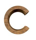 Realistische Houten die brief C op witte achtergrond wordt geïsoleerd Stock Fotografie
