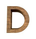 Realistische Houten die brief D op witte achtergrond wordt geïsoleerd Royalty-vrije Stock Foto's