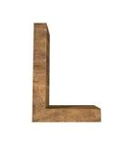 Realistische Houten die brief L op witte achtergrond wordt geïsoleerd Stock Afbeeldingen