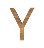 Realistische Houten die brief Y op witte achtergrond wordt geïsoleerd Stock Fotografie