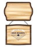 Realistische houten uithangborden of houten plank met donker kader Oude lege houten raad voor banners, berichten die op metaalket vector illustratie