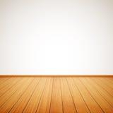 Realistische houten vloer en witte muur Royalty-vrije Stock Foto's