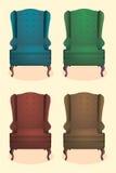Realistische Ikone des Stuhls stellte vier identische Stühle mit Holzbeinvektorillustration ein lizenzfreie abbildung