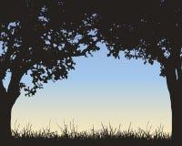 Realistische illustratie van een kader van groene loofbomen en g royalty-vrije illustratie
