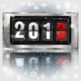 Realistische Illustration 2018 des guten Rutsch ins Neue Jahr-Anzeigetafel-Vektors Mechanisches Uhrdesign für Grußkarte Lizenzfreies Stockfoto
