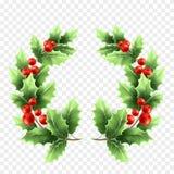 Realistische Illustration des Weihnachtsstechpalmen-Kranzes Lizenzfreie Abbildung