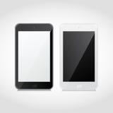 Realistische intelligente Schwarzweiss-Telefone des Vektors Lizenzfreie Stockfotografie