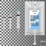 Realistische Intraveneuze vloeistof en spuiten Vector illustratie stock illustratie
