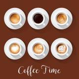 Realistische Kaffeetassen mit Americano-Latte-Espresso Macchiatto-Mokka-Cappuccino stock abbildung