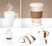 Realistische Kaffeetassen und Entwürfe der Kaffeemaschine, des Latte und der Co lizenzfreie abbildung