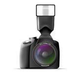 Realistische Kamera mit externem Blitz. Vektor illus Stockfotos