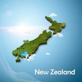 Realistische Karte 3D des neuen zeland Lizenzfreie Stockfotos