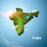 Realistische Karte 3D von Indien Stockfotografie