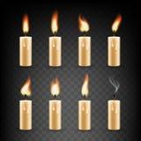 Realistische Kerze des Vektors mit Feueranimations-Ikonensatz vektor abbildung