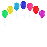Realistische kleurrijke ballonsachtergrond, vakantie die, groeten, huwelijk, gelukkige verjaardag, op een witte achtergrond party Royalty-vrije Stock Afbeeldingen