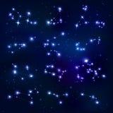 Realistische Konstellations-Sternzeichen-Sammlung stock abbildung