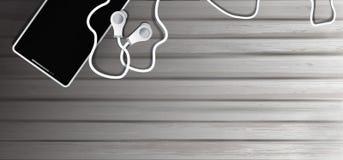 Realistische Kopfh?rer und Handy auf altem h?lzernem Hintergrund Gegenst?nde, zum Musik im Stil des Realismus, Hintergrund 3D zu  lizenzfreie abbildung