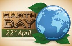 Realistische Kugel-Anzeige der Tag der Erde-Feier, Vektor-Illustration Stockfotos