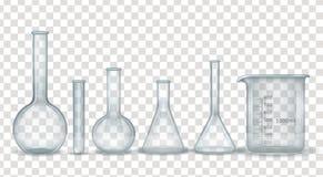 Realistische Laborchemikalie und medizinischer Glaswarensatz lizenzfreies stockbild