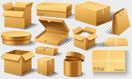 Realistische lege Geopende kartondoos Bruine levering Kartonpakket met breekbaar teken op transparante witte achtergrond royalty-vrije illustratie